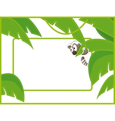 label frame raccoon vector image vector image