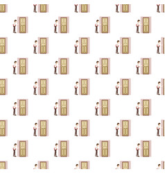 Man with a folder at the door pattern vector