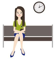 Melancholy woman wait vector image vector image