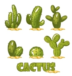 Mexican Cactus Set funny set of comic mexican vector image vector image