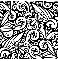 Monochrome seamless pattern with floral ornament vector