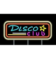 Neon signboard disco club design vector