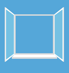 opened window isolated on blue background vector image vector image