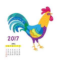 Roosters calendar april vector