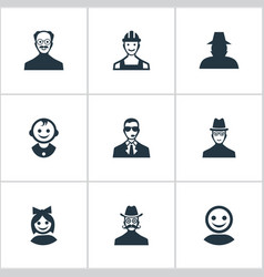 Set of simple human icons vector