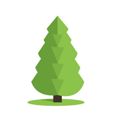 Stylized low poly polygon green christmas tree vector