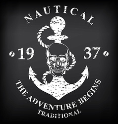 T-shirt print Nautical marine badge design vector image