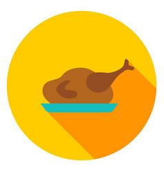 Turkey dinner circle icon vector