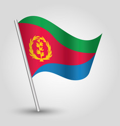 Waving simple triangle eritrean flag on stick vector