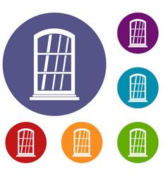 White narrow window icons set vector