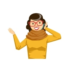 Woman in glasses and yellow sweater chatting on vector