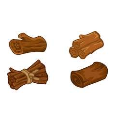 Wooden resources for games icons set vector image vector image
