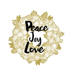 Xmas golden wreath and peace love joy vector