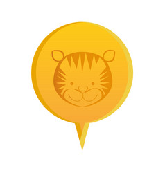 Yellow round chat bubble with tiger animal inside vector