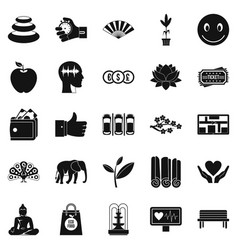 Yoga studio icons set simple style vector