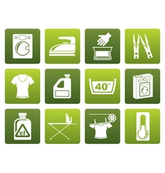 Flat washing machine and laundry icons vector