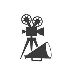 Cinematographic camera with cinema icon vector