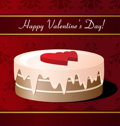 Valentines day greeting card with cake vector