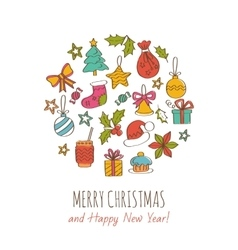 Merry christmas and happy new year greeting card vector
