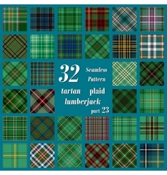 Set of thirty two tartan seamless pattern vector image