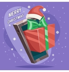 Greating gift christmas new year card mobile phone vector