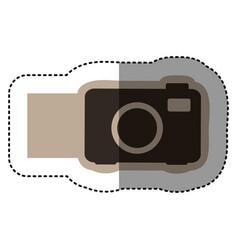 Sticker monochrome emblem with analog camera vector