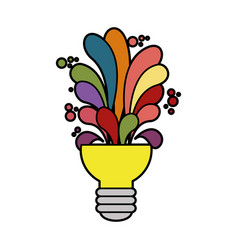 Bulb with colorful shapes icon vector