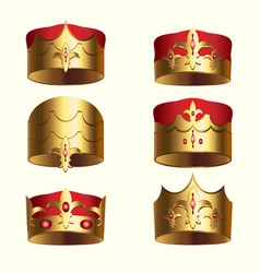Golden royalty crown isolated set vector