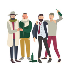 company of drunk people with bottles young and vector image