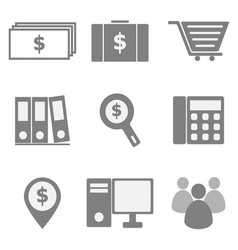 Set of business icons on white background vector image