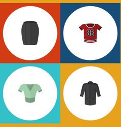 Flat icon dress set of casual uniform t-shirt vector