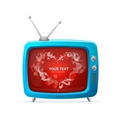 Heart and tv valentines day card vector