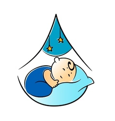 Little baby fast asleep in its cot vector image
