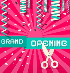 Retro grand opening with confetti and scisso vector
