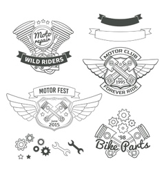 Set of biker vintage labels oldschool motor logo vector