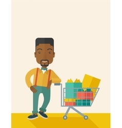 African-american man with shopping cart vector