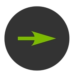 Arrow axis x flat eco green and gray colors round vector