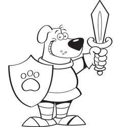 Cartoon dog in a suit of armor vector