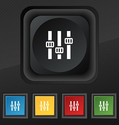 Equalizer icon symbol set of five colorful stylish vector