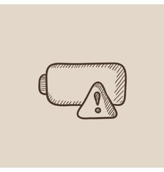 Empty battery sketch icon vector