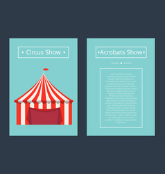 Circus now acrobat show with tent in red and white vector