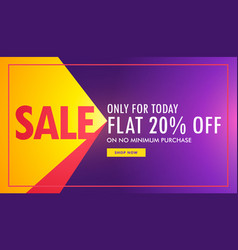 Creative sale banner in purple and yellow color vector