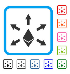 Ethereum emission framed icon vector