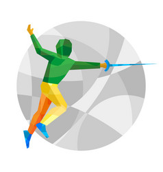 Fencer on gray background with patterns vector