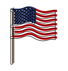 Flag united states of america in flagpole wave and vector