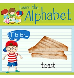 Flashcard alphabet T is for toast vector image vector image