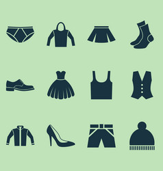 Garment icons set collection of trunks cloth vector