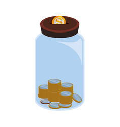 Glass bottle to save coins cash money vector