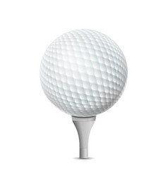 golf ball on white tee realistic vector image