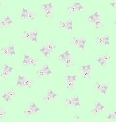 Gray bunnies kids seamless pattern vector